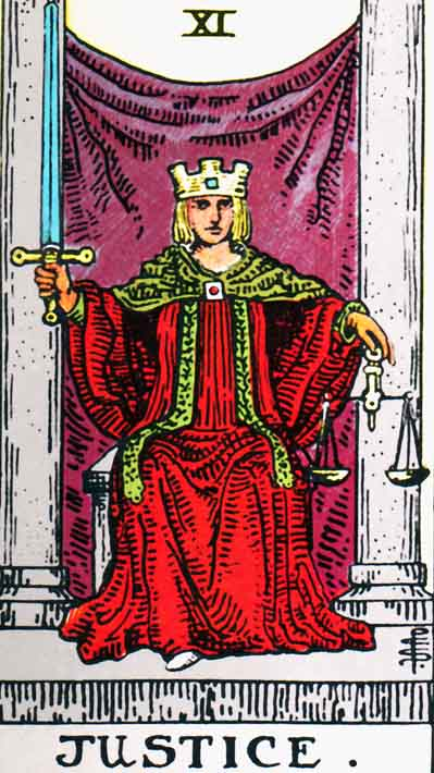 Justice – Major Arcana Tarot Card Meaning, according to Waite, Ouspensky, Crowley and Papus