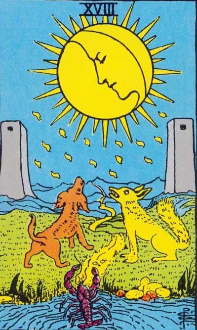 The Moon – Major Arcana Tarot Card Meaning, according to Waite, Ouspensky, Crowley and Papus