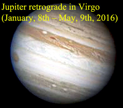 Jupiter retrograde in Virgo (January, 8th – May, 9th, 2016)