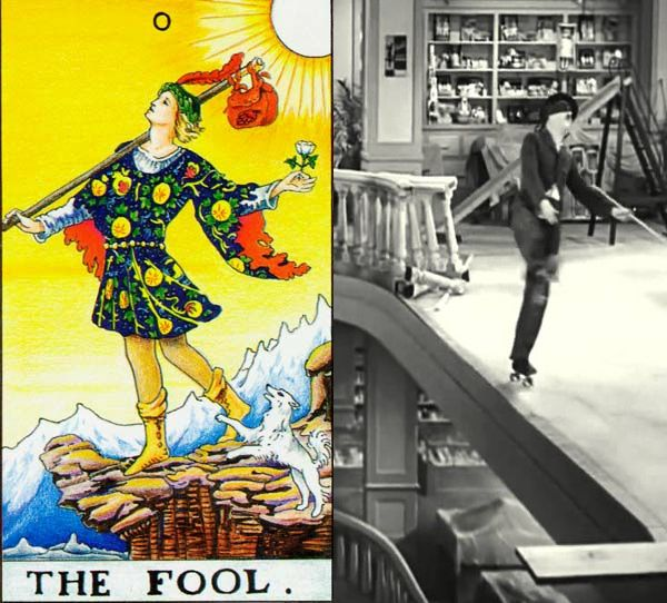 Tarot: The Fool and His Avatars – Charlie Chaplin Skating in Modern Times