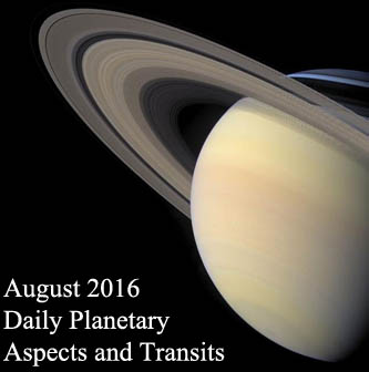 August 2016 Daily Planetary Aspects and Transits