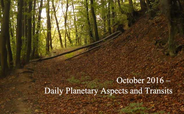 October 2016 – Daily Planetary Aspects and Transits