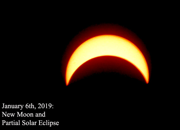 New Moon and Partial Solar Eclipse (January 6th, 2019)
