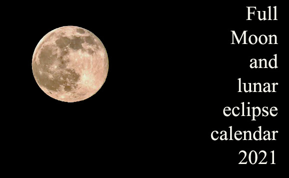 Full Moon and Lunar Eclipse Calendar 2021